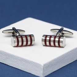 Zen Red Striped Cylinder Cufflinks Andrew Worth
