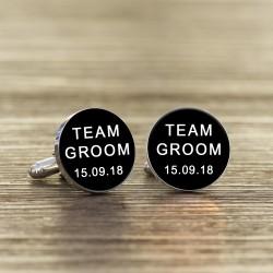Black Personalised Team Groom Cufflinks