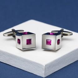 Cubed Fuchsia Crystal Cufflinks