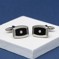 Juno Black crystal Cufflinks Andrew Worth