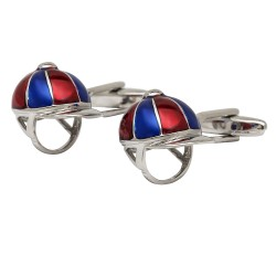 Bright Coloured Jockeys Helmet Cufflinks