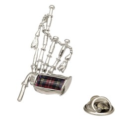 Royal Stewart Tartan Bagpipes Lapel Pin