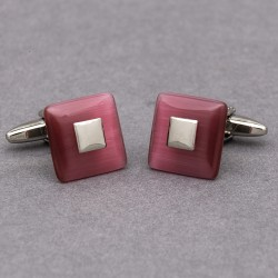Cerise Square Cufflinks