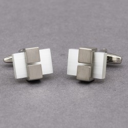 Andor White Cats Eye Cufflinks