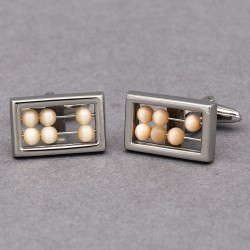 Cream Abacus Cufflinks