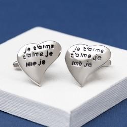 Je t'aime Love Heart Cufflinks