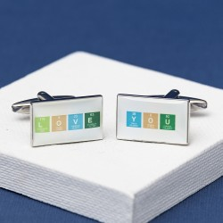 Love You Cufflinks Chemical Table