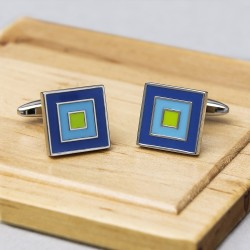 Cubic Blue Trio Cufflinks