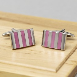 Pink Striped Cufflinks