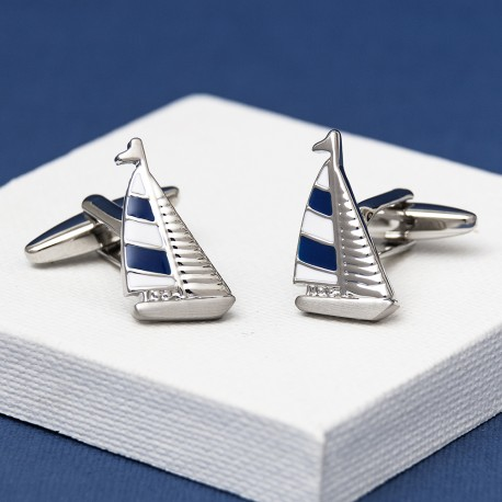 Blue Sailing Yacht Cufflinks