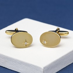 Cubic Zirconia Gold Plated Cufflinks