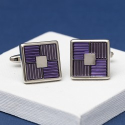 Quarter Purple Square Cufflinks