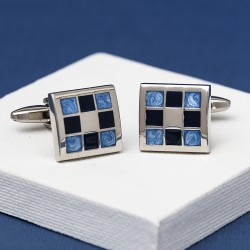 Gradient Blue Chequered Cufflinks