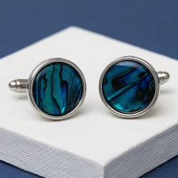 Round Blue Paua Shell Cufflinks