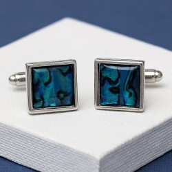Square Blue Paua Shell Cufflinks