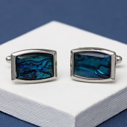 Elliptical Blue Paua Shell cufflinks