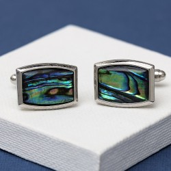 Elliptical Paua Shell cufflinks