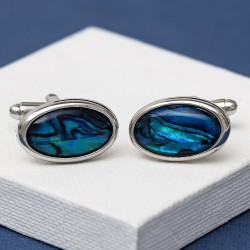 Oval Blue Paua Shell cufflinks