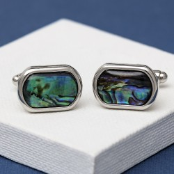 Round Edge Paua Shell Cufflinks
