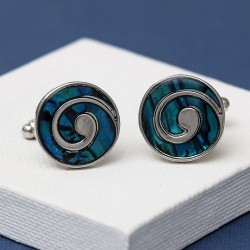 Swirl Blue Paua Shell cufflinks