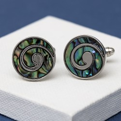 Swirl Green Paua Shell cufflinks