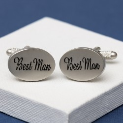 Best Man Cufflinks Oval Italics