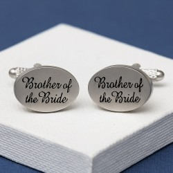 Brother of the Bride Cufflinks Oval Italics