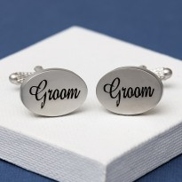 Groom Cufflinks Oval Italics