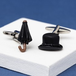 Bowler Hat and Umbrella Cufflinks