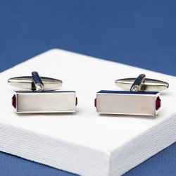 CYDIA Red Crystal bar Cufflinks