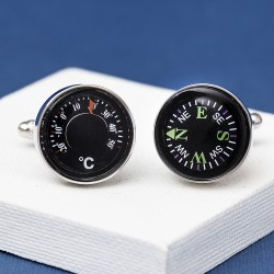 Compass and Thermometer Cufflinks - Real Working Item