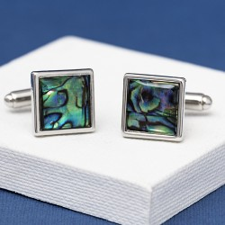 Square Green Paua Shell Cufflinks