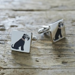 Black Schnauzer Dog Cufflinks