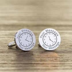 Wedding Time Silver Cufflinks Personalised