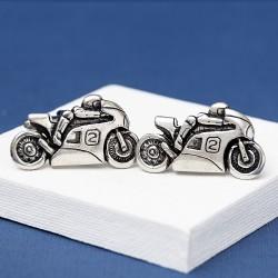 Sports Motorbike Cufflinks Pewter