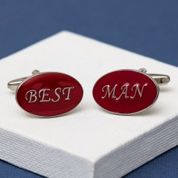 Best Man Cufflinks Oval Red