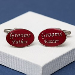 Grooms Father Cufflinks Oval Red