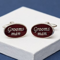 Groomsman Cufflinks Oval Red