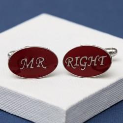 Mr Right Cufflinks Oval Red