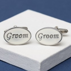 Groom Cufflinks Oval White