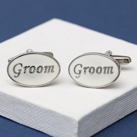Groom Cufflinks Oval White
