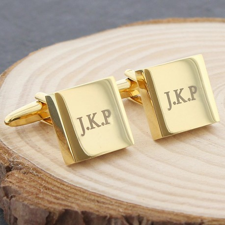 Gold Plated Initial Cufflinks - Personalised Engraved Cufflinks