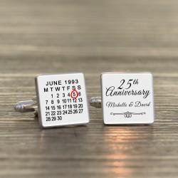 Personalised Anniversary Calendar Cufflinks