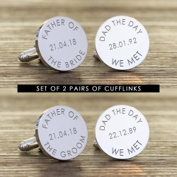 Fathers of the Bride and Groom Cufflinks - Set of 2