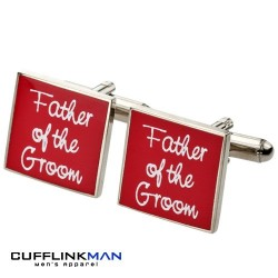 Square Red - Father of the Groom Cufflinks
