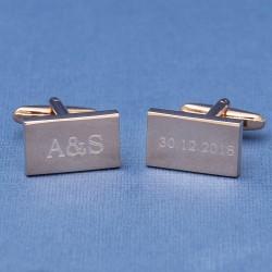 Rose Gold Wedding Cufflinks Initials and Date