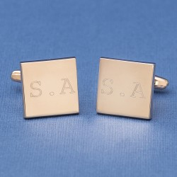 Rose Gold Initial Cufflinks Engraved