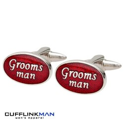 Oval Red - Groomsman Cufflinks