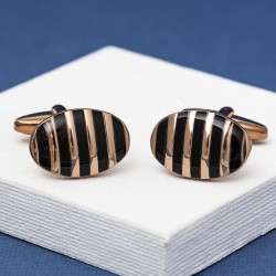 Striped Cufflinks Rose Gold Stripes