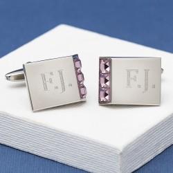 LEO Amethyst Crystal Initial Cufflinks